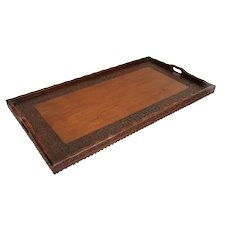 Large Carved Mahogany Serving Tray with Handles