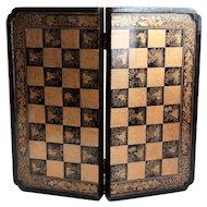 Antique Chinoiserie Games Box, Chess, Checkers, Backgammon