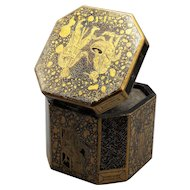 Antique Chinese Export Chinoiserie Tea Caddy