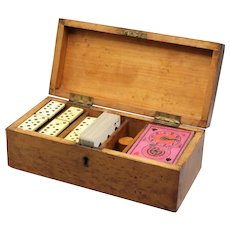 Antique English Burr Walnut Games Box, Dominoes, Whist, Playing Cards