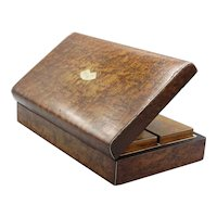 Antique Burl Amboyna Wood Games Box