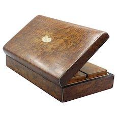 Antique Burl Amboyna Wood Games Box
