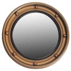 1930's Art Deco English Giltwood Round Bullseye Convex Mirror