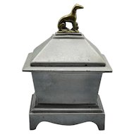Antique English Lead Box with Dog Finial