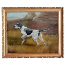Sporting Hunting Dog Oil Painting English School, Signed Gilt Frame