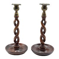 "19th-Century Antique English Oak Twist Candlesticks, 11"" Tall, Pair"