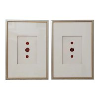 Framed Antique Red Wax Seal Intaglios, A Pair