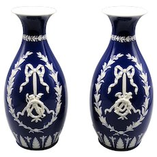 English Wedgwood Vases Pair, with Swags & Bows