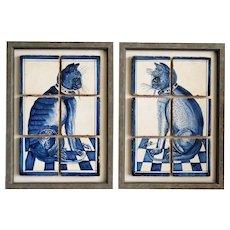 Antique Dutch Delft Framed Cat Tile Plaques, Set of 2