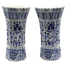 Antique Dutch Delft Ribbed Vases, Pair