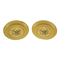 French Tole Trays Mustard Color, Pair, Wine, Cards