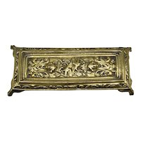 Art Nouveau Brass Pen Tray Desk Accessory