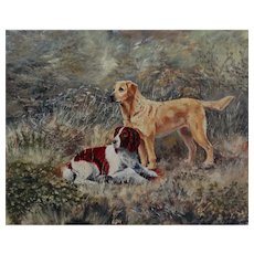 'The Dogs' English School Dog Oil Painting, Signed & Dated