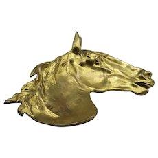 French Equestrian Gilt Bronze Catch-all Dish