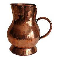 Large Antique French Hand Hammered Copper Pitcher Dovetail