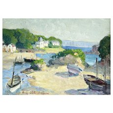 Boats in Harbor Impressionist Oil Painting, Eugene Schlumberger