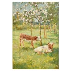 'In the Time of Apple Blossom', Oil Painting James Townshend (-1949)