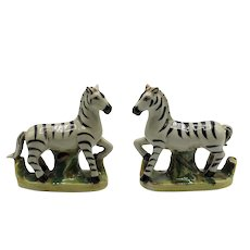 Antique Staffordshire Zebra Figurines, Pair
