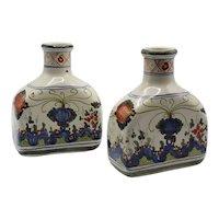 Antique Italian Majolica Faience Vases Flasks Bottles Vessels Pair