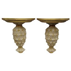 Carved Italian Gilt Wood Wall Brackets, Pair