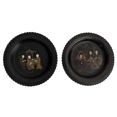 Antique English Papier Mache Wine Coasters, Pair