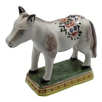 Antique Delft Polychrome Horse Figurine French Faience