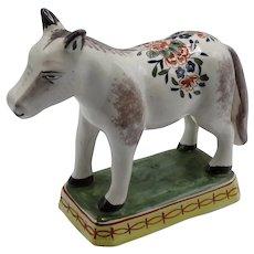 Antique Delft Polychrome Horse Figurine