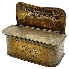 Antique Dutch Brass Embossed Candle Box 19th-Century