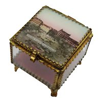 Antique French Eglomise Ormolu Glass Souvenir Box