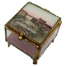 Antique French Eglomise Ormolu Glass Souvenir Box