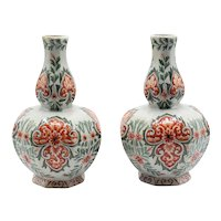 Antique Dutch Delft Polychrome Vases, Pair