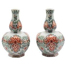 Antique Dutch Delft Polychrome Vases, Pair