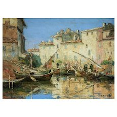 'Martigues' Oil Impressionism Painting by Henri Olive (1898-1980)