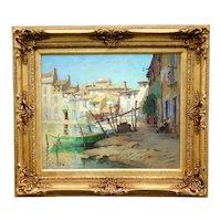 Impressionism Oil Painting, Robert Chailloux (1913-2006) Martigues Harbor