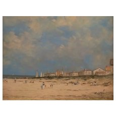 Modernist French Beach Painting, Pierre Stefani (1938 - )