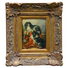 Antique King Charles Cavalier Dogs Oil Painting, George Hepper (1839-1868)
