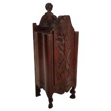 Antique Diminutive French Walnut Salt Box Table Cabinet