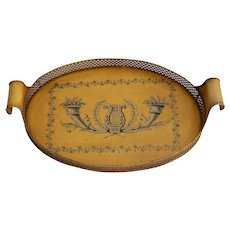 Early French Tole Tray with Lyre in Collectible Mustard Color