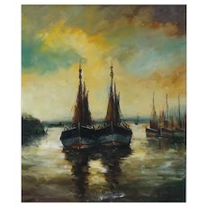French Harbor Scene with Sailboats Oil on Canvas Painting