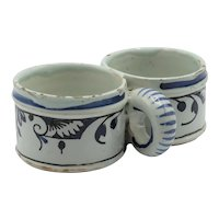Antique Delft Faience Presentier Double Dish Hand Painted