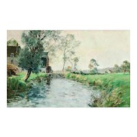 'Watermill on a River' Impressionism Oil Painting, Paul Emile Lecomte (1877-1950) Listed Artist