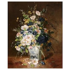 'Flowers' Oil Painting, Eugene Henri Cauchois (1850 - 1911)
