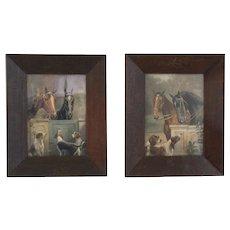 Antique Equestrian Horse & Dogs Portraits, Pair