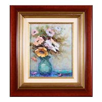 French Impressionist Oil Painting Pansy Flowers, Pierre Boudet (1915-2010) Listed Artist