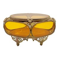 French Beveled Glass Jewelry Casket Dresser Box
