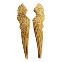 Vintage Inspired Carved Angel Wings,  Pair Wall Hanging Decor