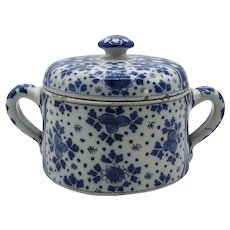 18th-C Delft Blue and White Two Handled Lidded Posset Pot