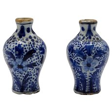 """Rare Pair of Miniature Early Antique Delft Vases, 2.5"""" Height"""