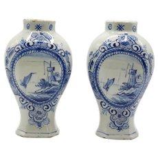 18th-Century Dutch Delft Vases With Landscape & Water Scene