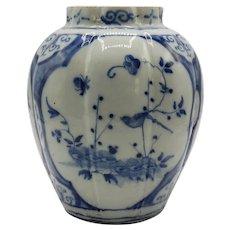 18th-Century Dutch Delft Lobbed Bulbous Vase Blue and White